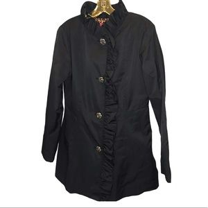 Betsey Johnson Ruffle Collar Short Trench Coat